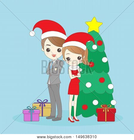 cartoon christmas business man and woman cross arms and smile to you