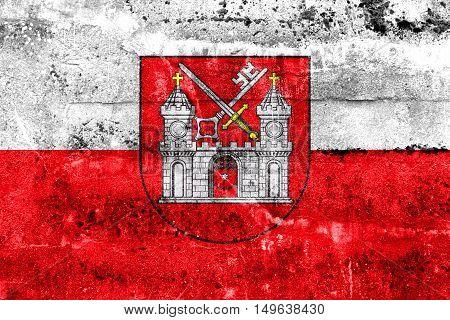 Flag Of Tartu, Estonia, Painted On Dirty Wall