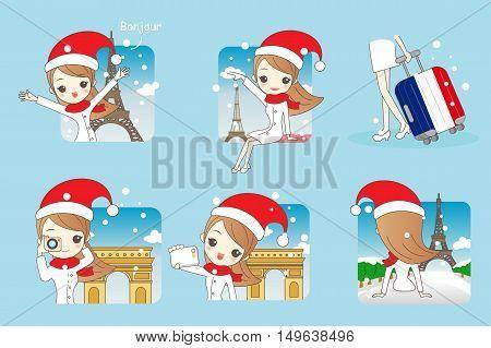 Cartoon beautiful woman go travel in christmas