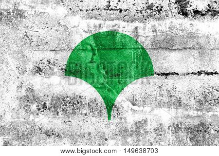 Flag Of Tokyo Metropolis (symbol), Japan, Painted On Dirty Wall