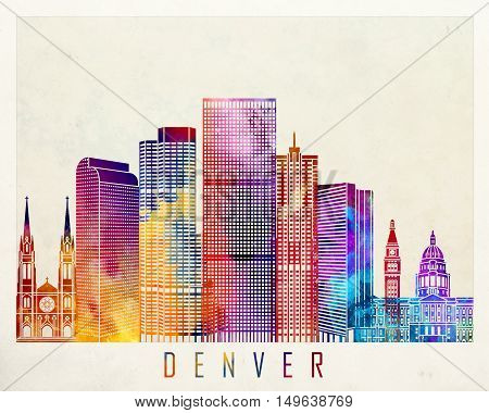 Denver landmarks in artistic abstract watercolor poster