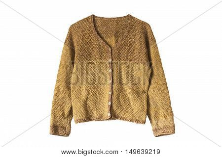 Yellow knitted cardigan isolated over white background