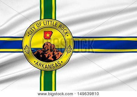 Flag of Little Rock in Arkansas state of United States. 3D illustration