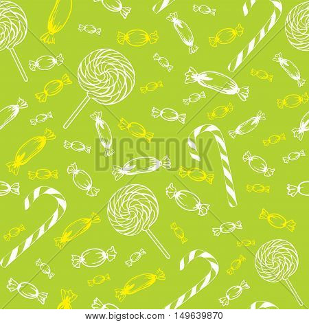 seamless texture of different outline candy  caramel striped lollipop in one color on a green background