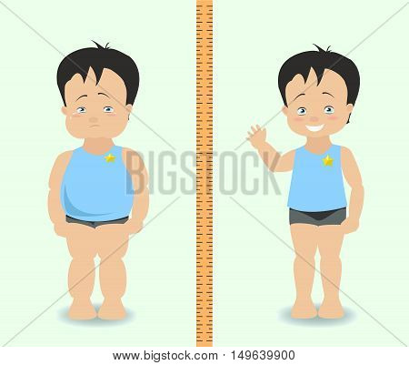 Fat and slim boy weight loss concept. Vector illustration