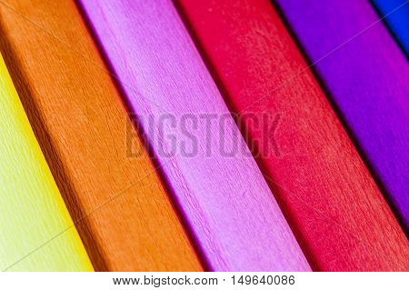 Colourful crape papers - warm colours from yellow to violet.