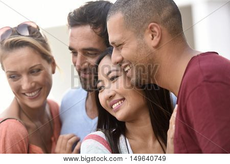 Group of young couples on tourist journey