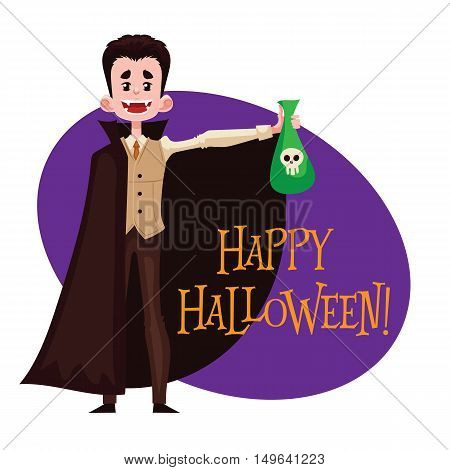 Happy boy dressed as Dracula for Halloween, cartoon style illustration isolated on white background. Dracula, vampire fancy dress idea. Trick or treat Halloween card