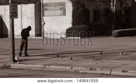 December 12th 2013 Los Angeles,California Sad Image of a Homess Man Feeding The Birds.