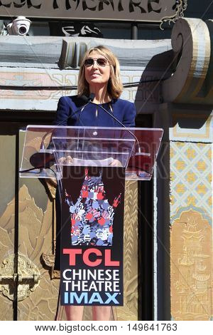 LOS ANGELES - SEP 29:  Stacey Snider at the Jeffrey Katzenberg Hand And Footprint Ceremony at the TCL Chinese Theater IMAX on September 29, 2016 in Los Angeles, CA