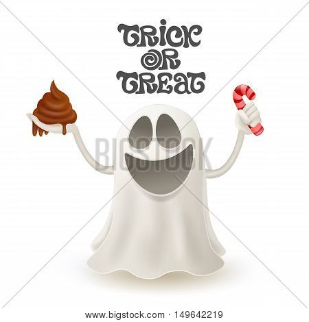 Smiley ghost character trick or treat concept. Vector illustration