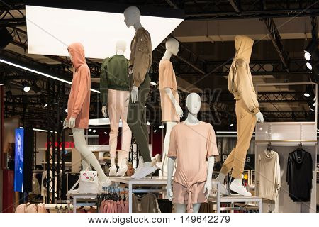 Moscow, Russia - August 30, 2016. Interior of the womens clothing store with mannequins in shopping complex Zelenopark