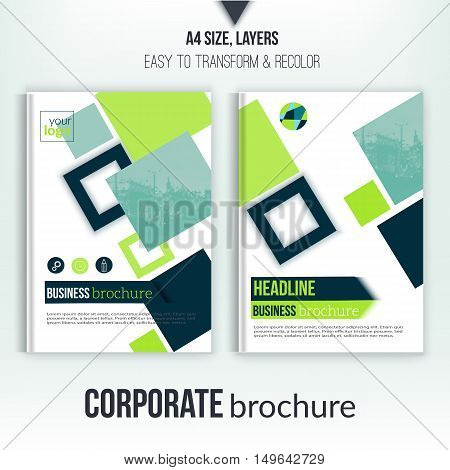 Brochure cover template with blurred city landscape, flyer, professional corporate identity. Blue clean triangles