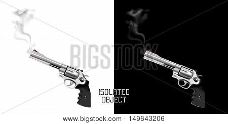 Gun revolver with smoke from the barrel. Isolated object on white and black background can be used with any image or text in different colors.