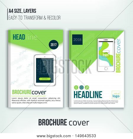 Vector brochure cover design templates with tablet and dotted shapes. Corporate identity. Business design, flyer, professional brochure