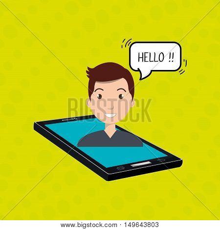cellphone man speech speak vector illustration eps 10