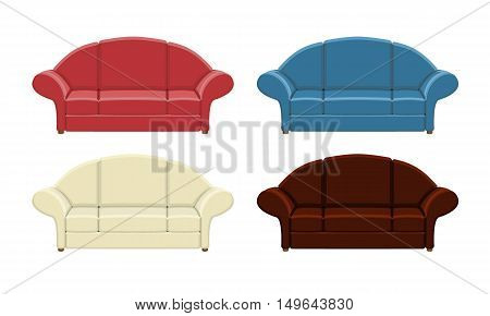 Set of colored sofas. Isolated vector illustration on white background.