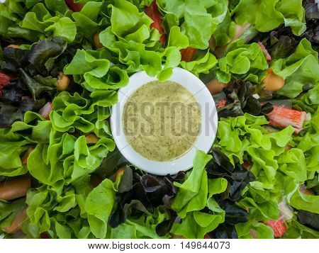 Fresh salad with lettuce and salad cream