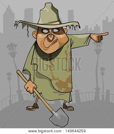 cartoon man in dirty ragged clothes with a shovel pointing in the direction