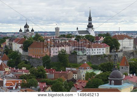 TALLINN, ESTONIA - JULY 31, 2015: View on the historic centre of Tallinn, cloudy summer day. Historical landmark of the city Tallinn