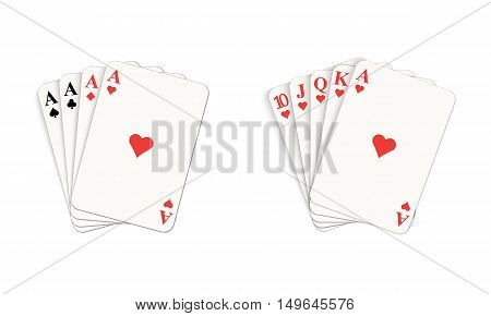 Play casino gambling. Winning poker hand. Isolated vector illustration on white background.