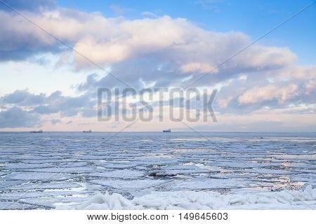 Winter Coastal Landscape With Ice On Sea