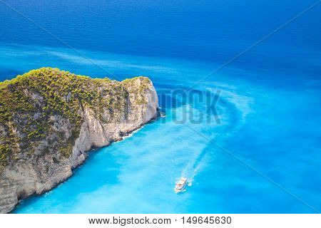 Touristic Motor Boat Goes On Navagio Bay