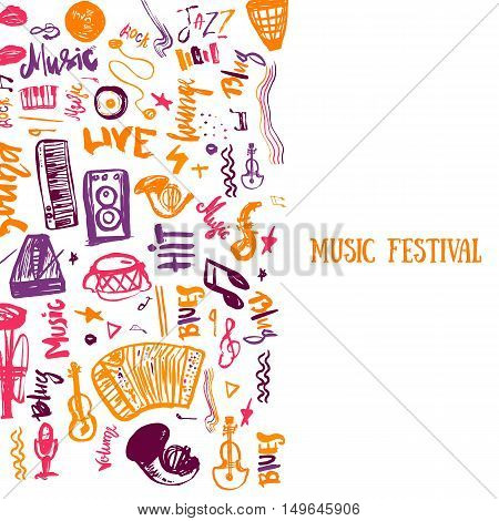 Music concert vector poster template. Can be used for printable concert promotion with lettering and doodle music items