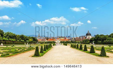 VIENNA, AUSTRIA - JUNE 25, 2016:  Panorama of baroque park in Belvedere Palace in Vienna Austria