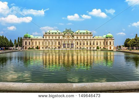 Upper Belvedere Palace  With Reflection. Vienna, Austria.