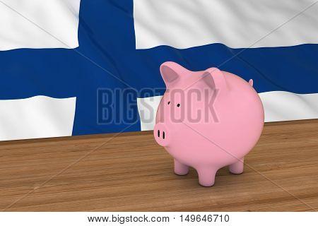 Finland Finance Concept - Piggybank In Front Of Finnish Flag 3D Illustration