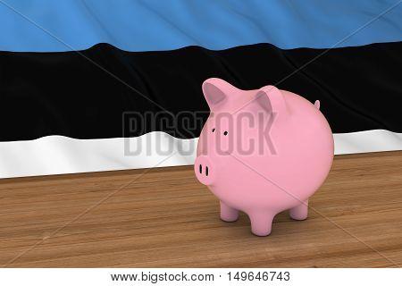 Estonia Finance Concept - Piggybank In Front Of Estonian Flag 3D Illustration