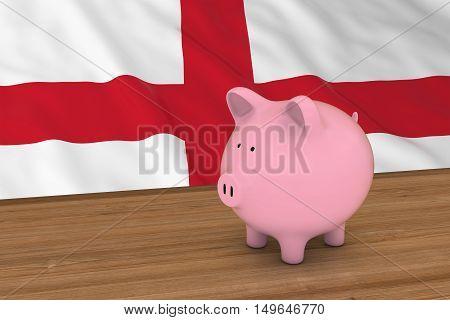 England Finance Concept - Piggybank In Front Of English Flag 3D Illustration