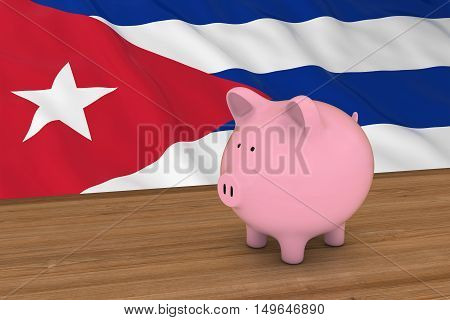 Cuba Finance Concept - Piggybank In Front Of Cuban Flag 3D Illustration