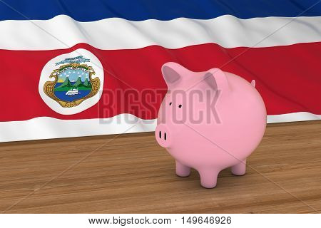 Costa Rica Finance Concept - Piggybank In Front Of Costa Rican Flag 3D Illustration