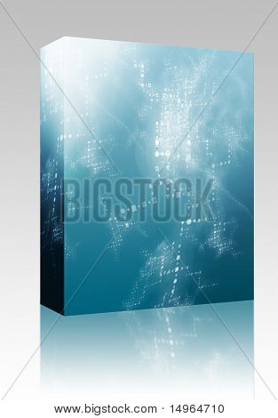 Software package box Abstract background of technical data information interchange