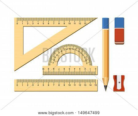 School accessories. Measuring tool for geometry. Wooden ruler square protractor. Vector illustration on white background.