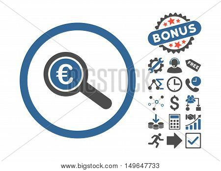 Euro Financial Audit pictograph with bonus icon set. Glyph illustration style is flat iconic bicolor symbols, cobalt and gray colors, white background.