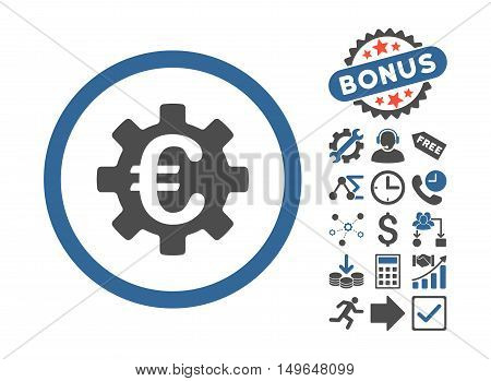 Euro Machinery pictograph with bonus pictograph collection. Glyph illustration style is flat iconic bicolor symbols, cobalt and gray colors, white background.