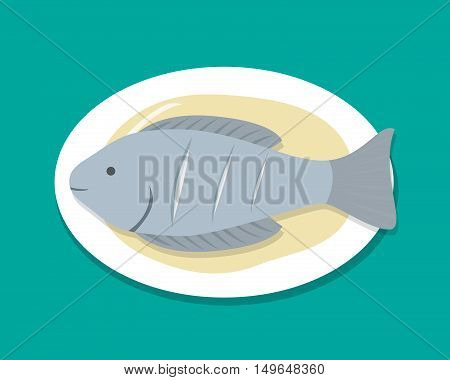 Top view Steamed Fish on white plate vector food