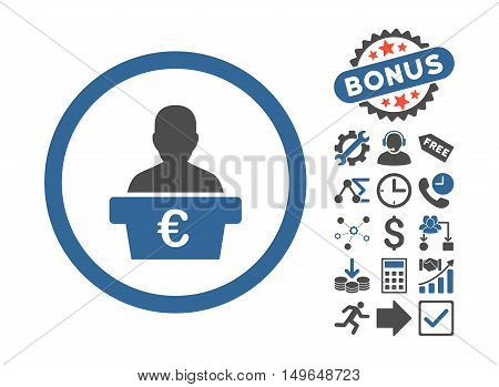 Euro Politician pictograph with bonus pictograph collection. Glyph illustration style is flat iconic bicolor symbols, cobalt and gray colors, white background.
