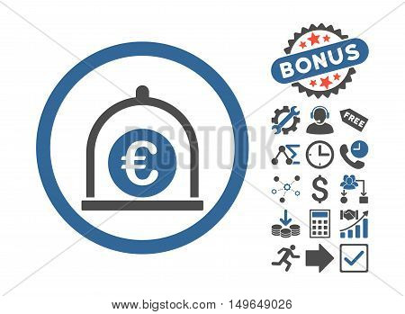 Euro Standard pictograph with bonus pictograph collection. Glyph illustration style is flat iconic bicolor symbols, cobalt and gray colors, white background.