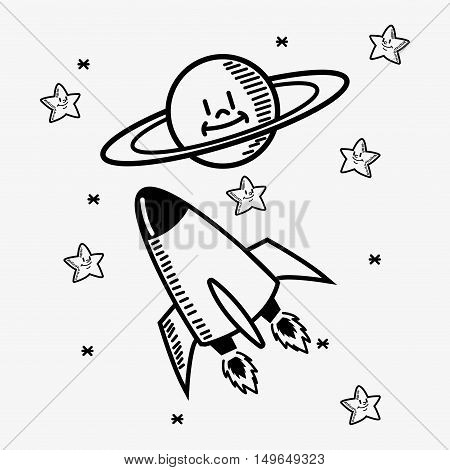 flat design space shuttle with stars doodle drawing image vector illustration