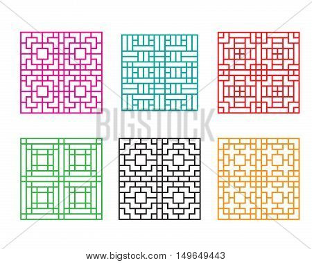 Japanese ornament for door window wall and fence vector
