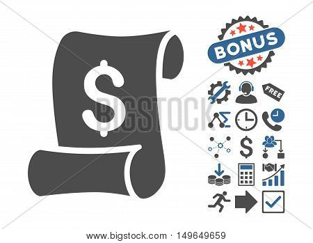 Financial Receipt Roll pictograph with bonus pictograph collection. Glyph illustration style is flat iconic bicolor symbols, cobalt and gray colors, white background.