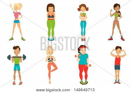 Flat Healthy Lifestyle Vector People Set Illustration with Fitness Girls and Fitness Guys Wearing Sportswear, Exercising with Dumbbells. Isolated Colorful Sport Illustration Collection