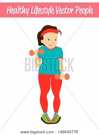 Flat Healthy Lifestyle Vector People Illustration with Heavy Fat Overweight Woman Wearing Sportswear, Exercising with Dumbbells. Isolated Colorful Weight Loss Illustration