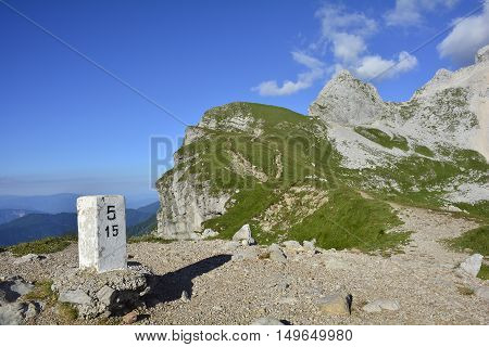The alpine scenery at Mangrt Saddle or Mangartsko Sedlo on the Mangrt which is the third highest peak in Slovenia and is located close to the Italian border.