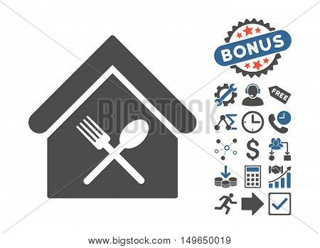 Food Court icon with bonus pictures. Glyph illustration style is flat iconic bicolor symbols, cobalt and gray colors, white background.