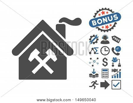 Forge Building pictograph with bonus pictograph collection. Glyph illustration style is flat iconic bicolor symbols, cobalt and gray colors, white background.